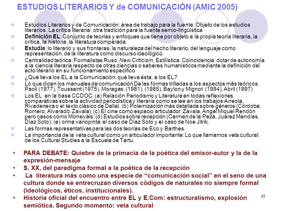 ESTUDIOS LITERARIOS Y de COMUNICACIÓN (AMIC 2005)