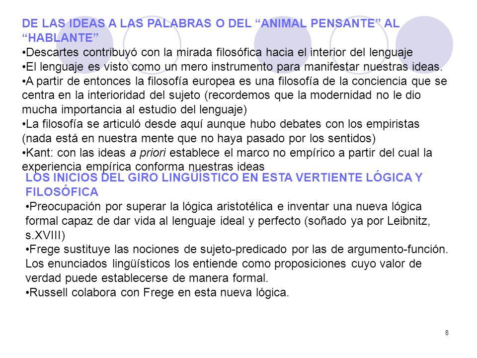 DE LAS IDEAS A LAS PALABRAS O DEL ANIMAL PENSANTE AL HABLANTE