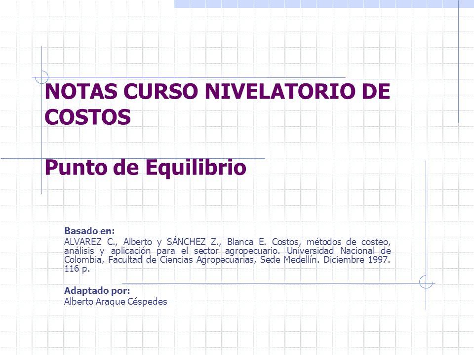 NOTAS CURSO NIVELATORIO DE COSTOS Punto de Equilibrio