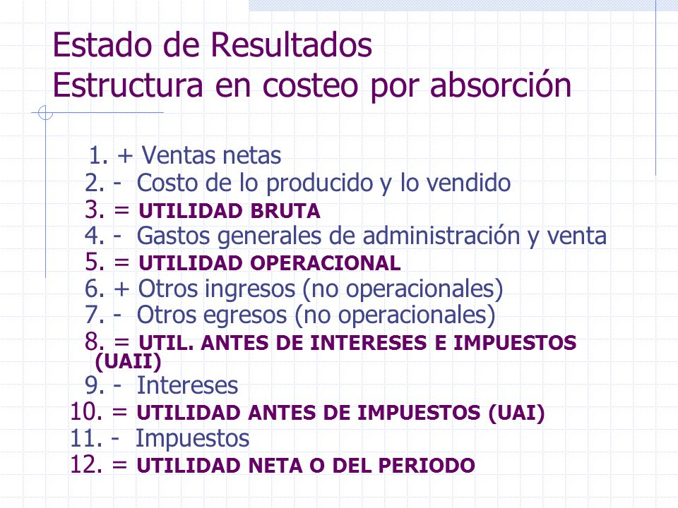 Estado de Resultados Estructura en costeo por absorción