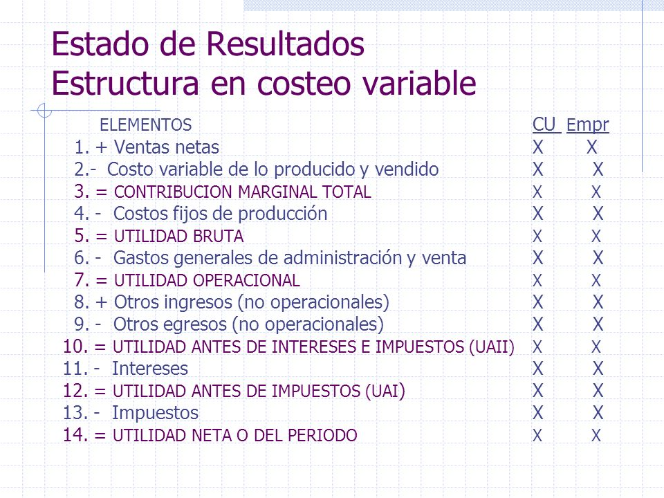 Estado de Resultados Estructura en costeo variable