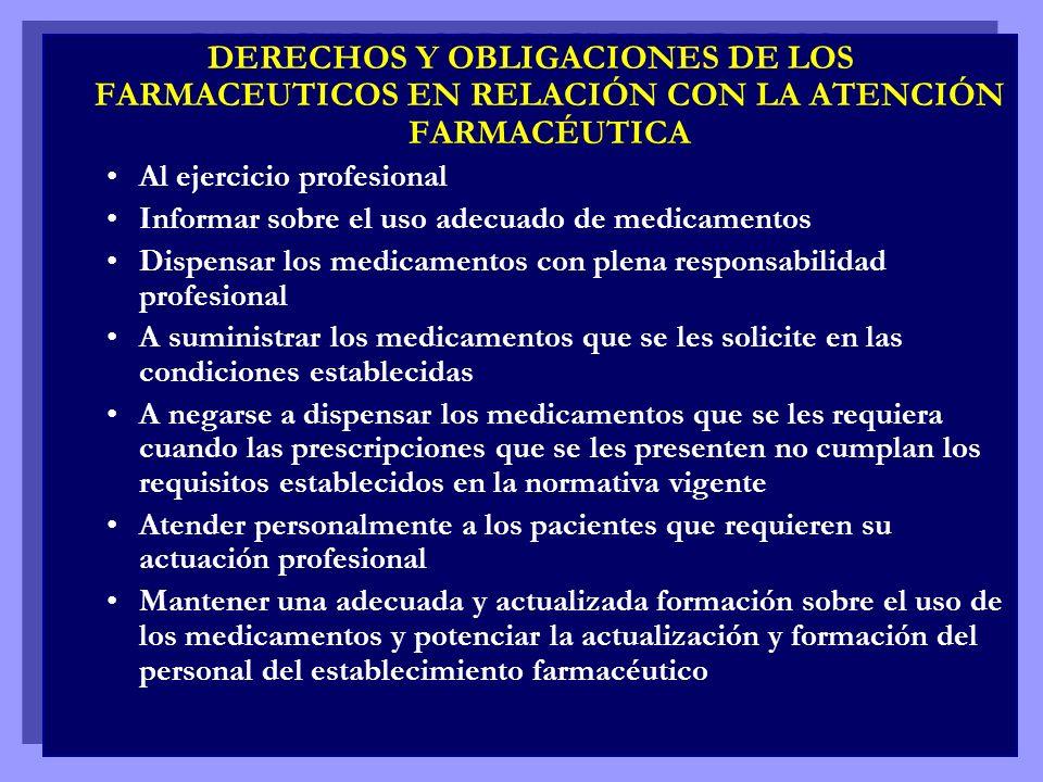 DERECHOS Y OBLIGACIONES DE LOS FARMACEUTICOS EN RELACIÓN CON LA ATENCIÓN FARMACÉUTICA