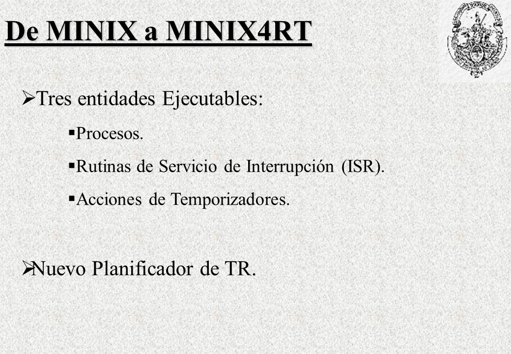 De MINIX a MINIX4RT Tres entidades Ejecutables: