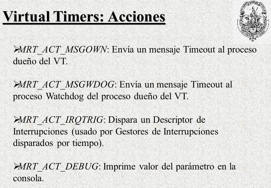 Virtual Timers: Acciones