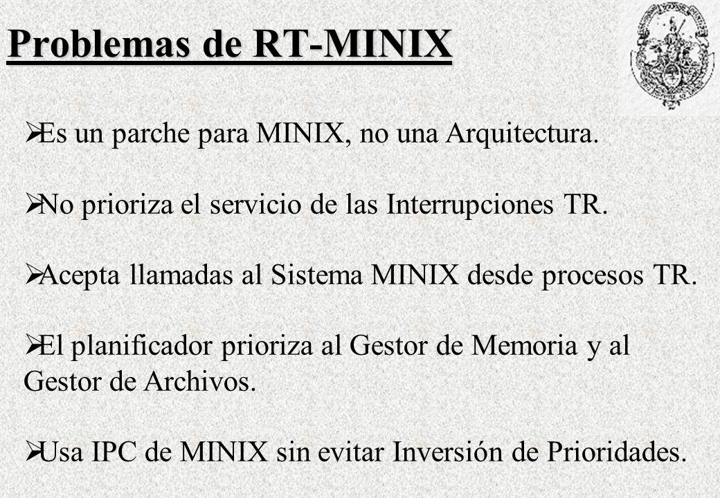 Problemas de RT-MINIX Es un parche para MINIX, no una Arquitectura.