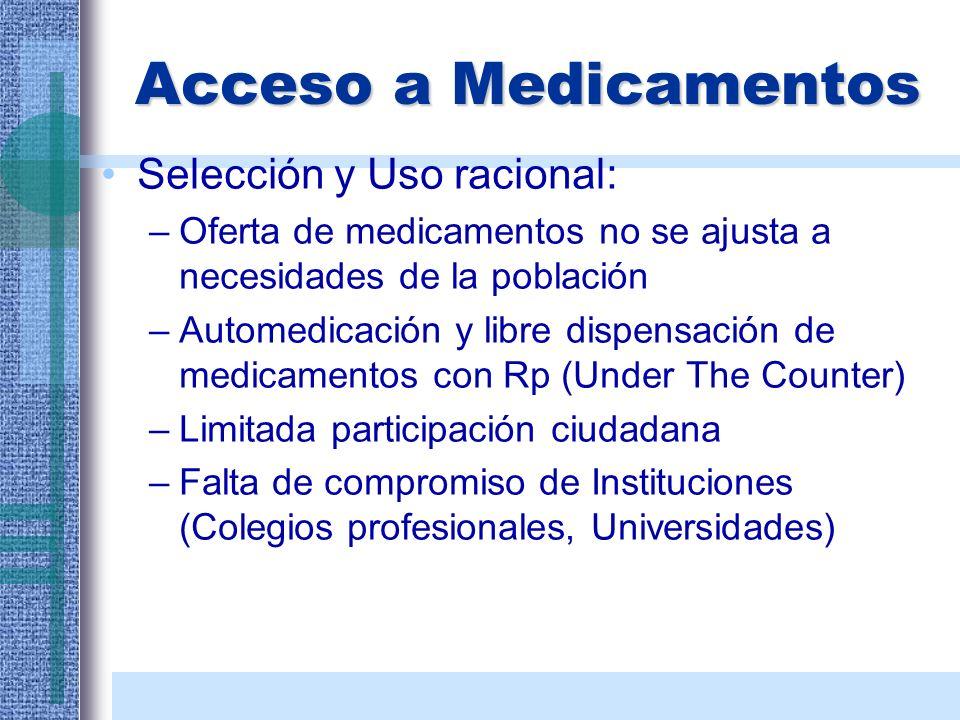 Acceso a Medicamentos Selección y Uso racional: