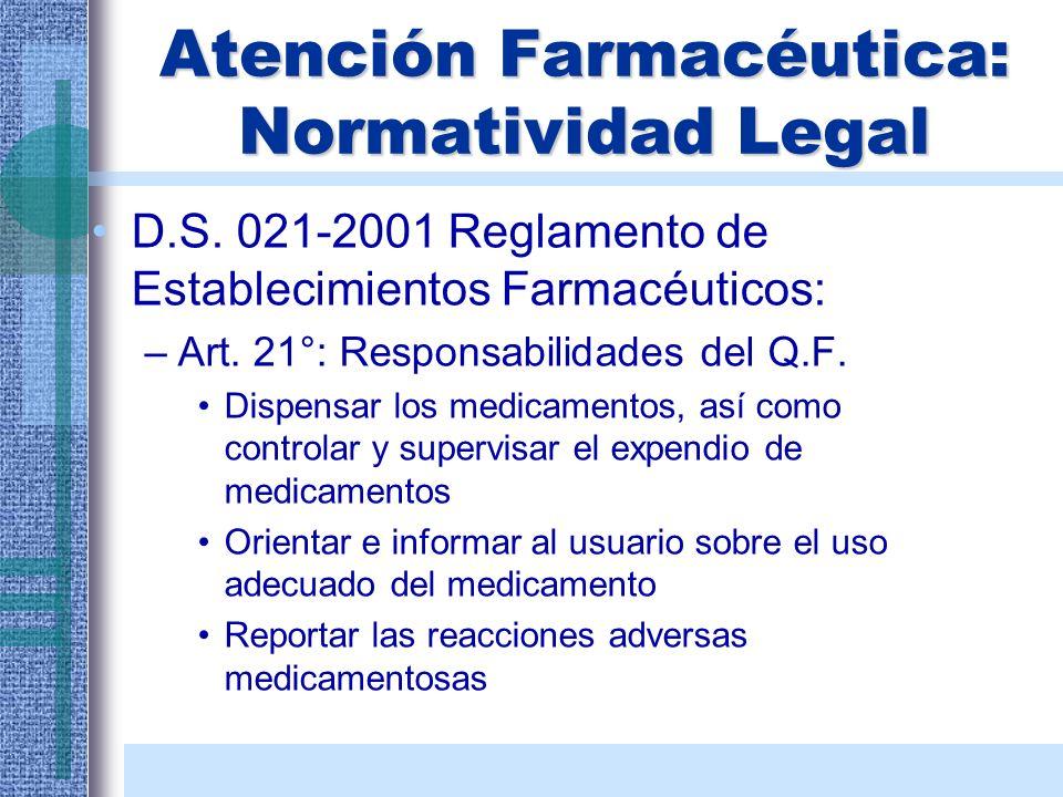 Atención Farmacéutica: Normatividad Legal