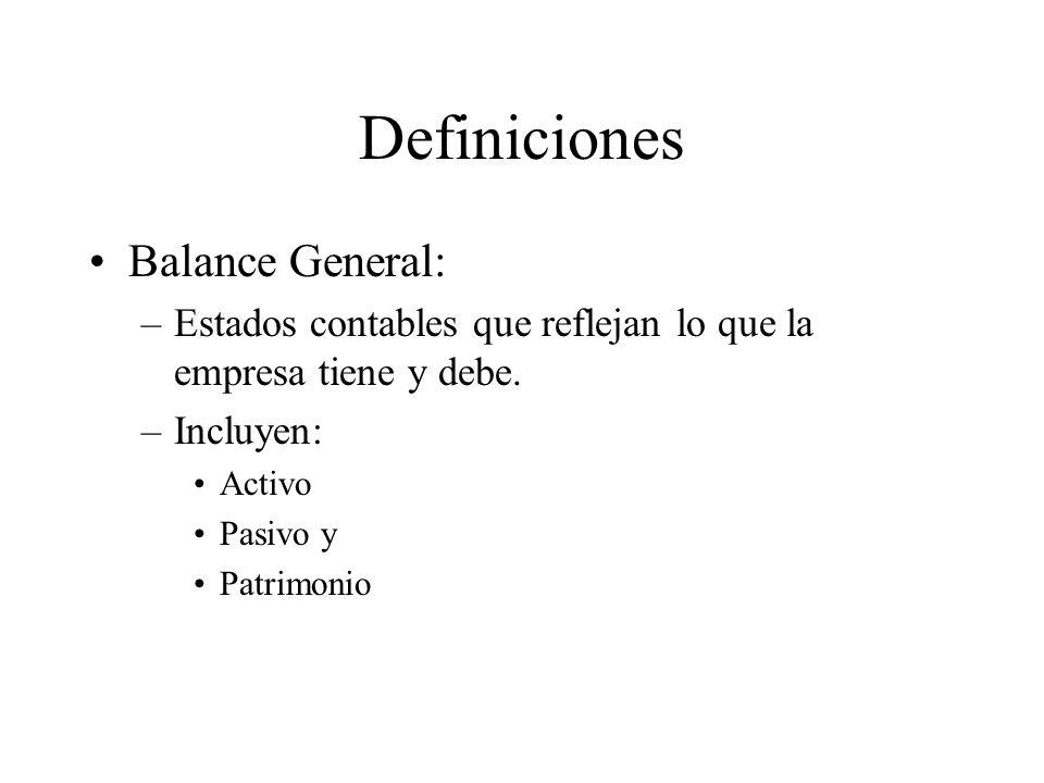 Definiciones Balance General: