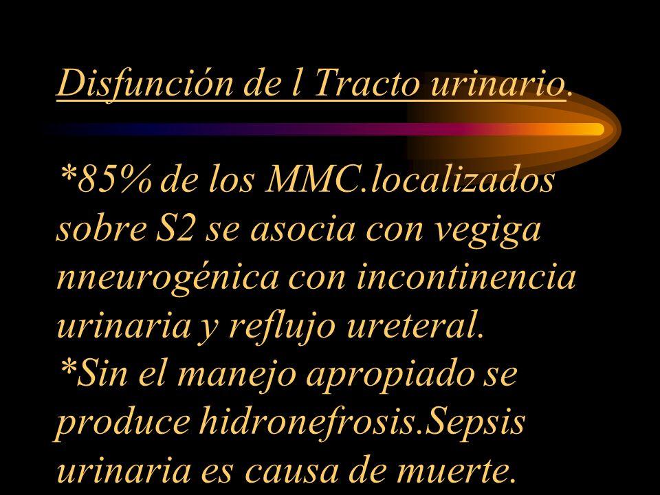 Disfunción de l Tracto urinario. 85% de los MMC