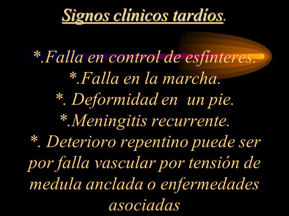 Signos clínicos tardíos. Falla en control de esfínteres