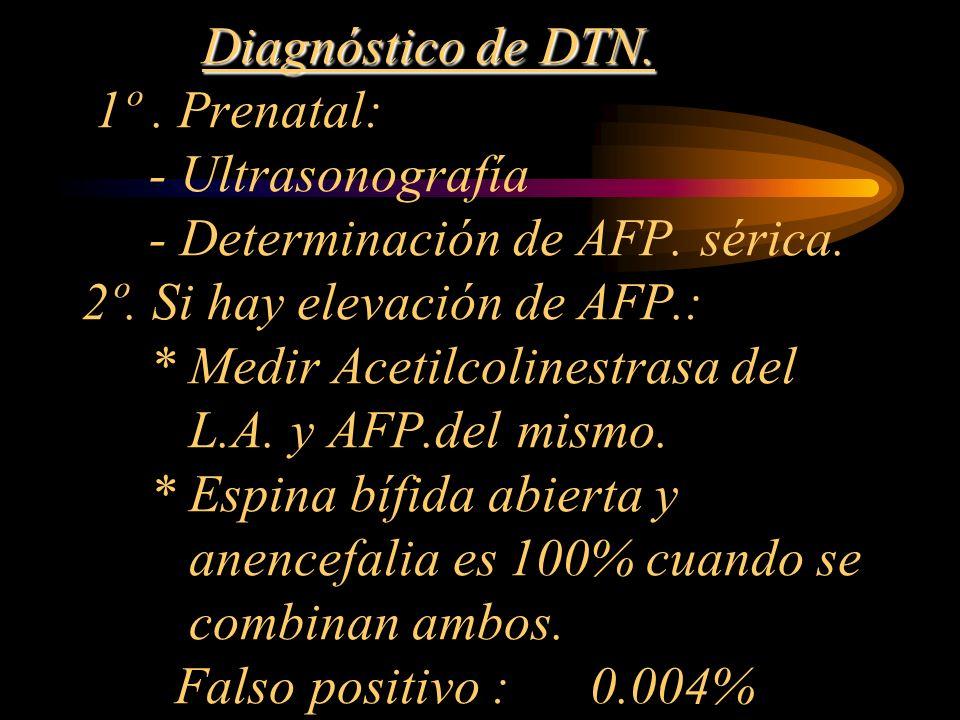 Diagnóstico de DTN. 1º . Prenatal: - Ultrasonografía - Determinación de AFP.
