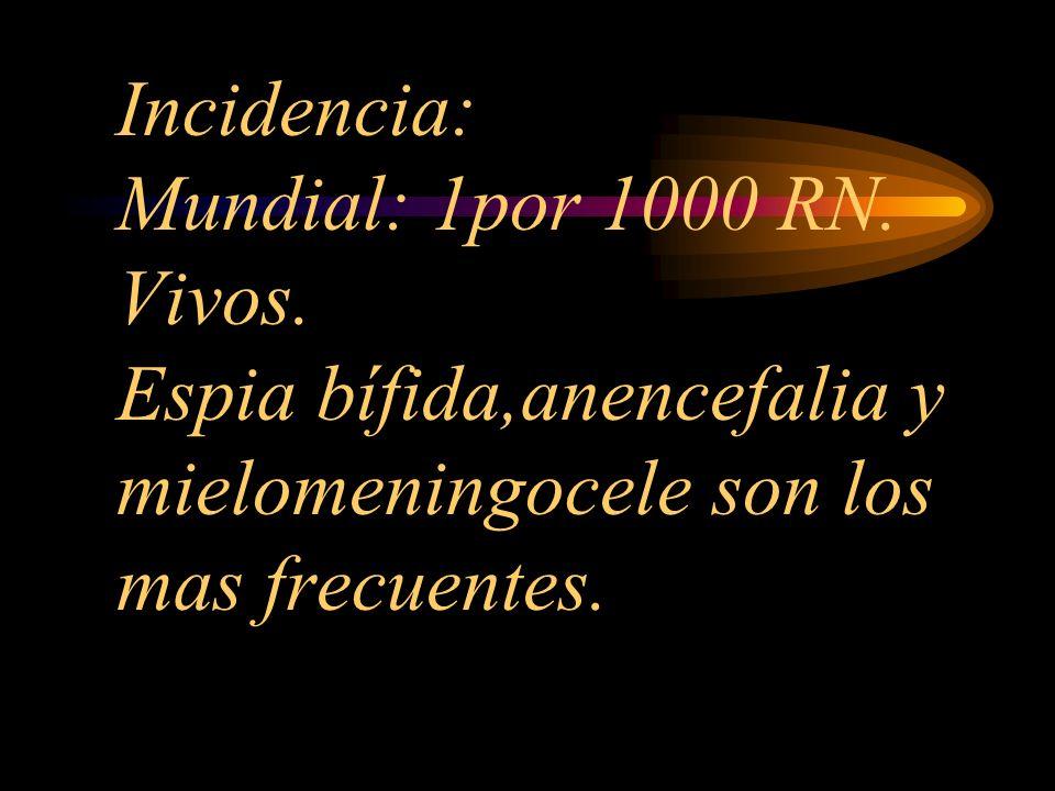 Incidencia: Mundial: 1por 1000 RN. Vivos