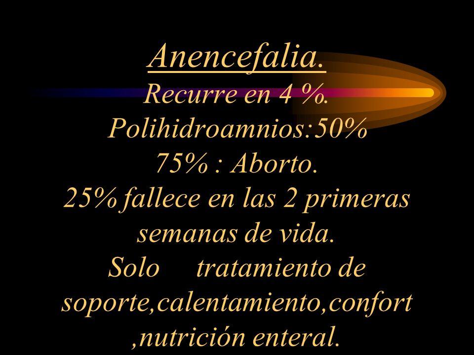 Anencefalia. Recurre en 4 %. Polihidroamnios:50% 75% : Aborto
