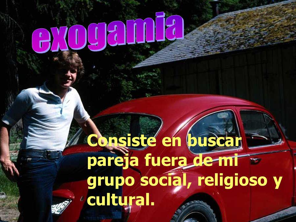 exogamia Consiste en buscar pareja fuera de mi grupo social, religioso y cultural.