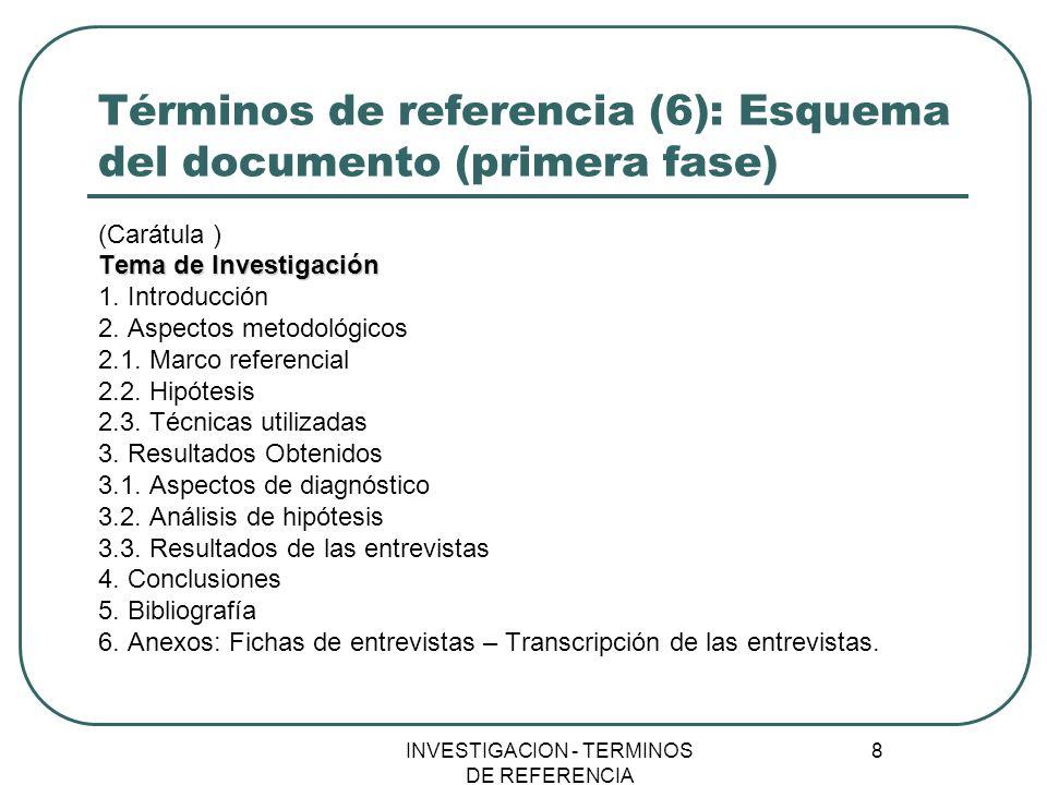 Términos de referencia (6): Esquema del documento (primera fase)