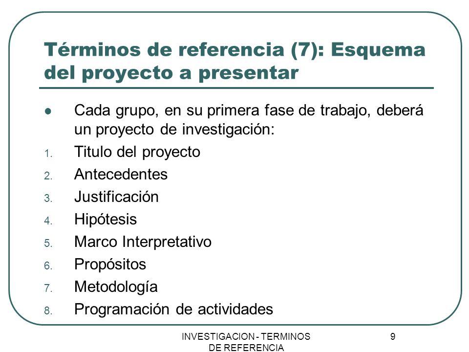 Términos de referencia (7): Esquema del proyecto a presentar