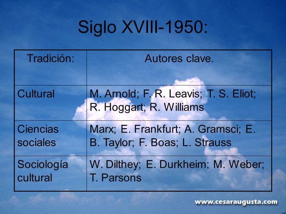 Siglo XVIII-1950: Tradición: Autores clave. Cultural