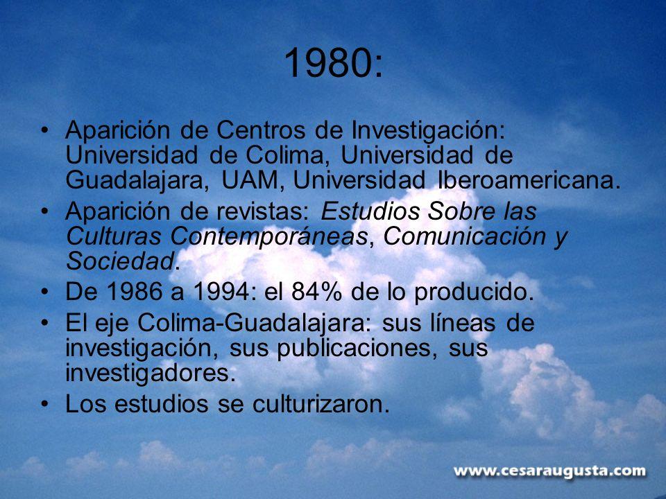 1980:Aparición de Centros de Investigación: Universidad de Colima, Universidad de Guadalajara, UAM, Universidad Iberoamericana.