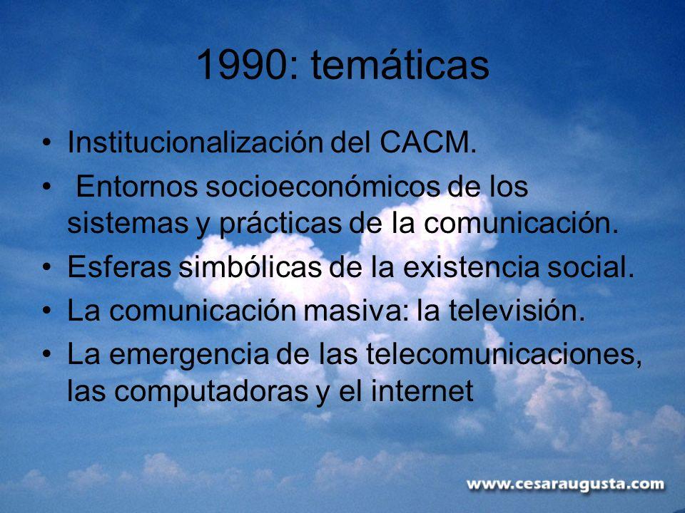 1990: temáticas Institucionalización del CACM.