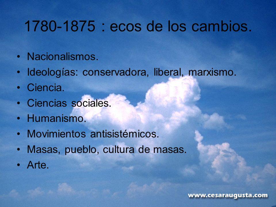 1780-1875 : ecos de los cambios. Nacionalismos.