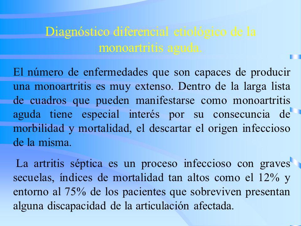 Diagnóstico diferencial etiológico de la monoartritis aguda.