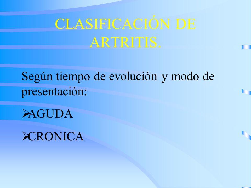 CLASIFICACIÓN DE ARTRITIS.