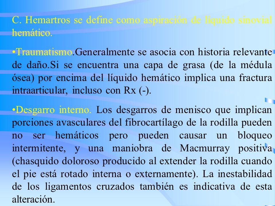 C. Hemartros se define como aspiración de líquido sinovial hemático.