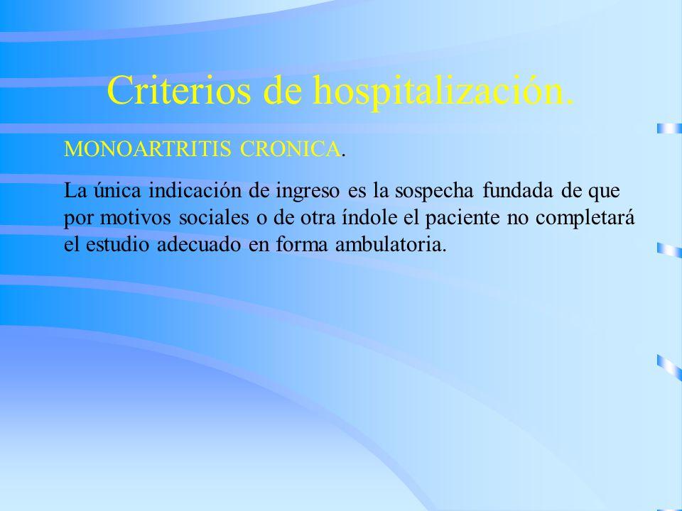 Criterios de hospitalización.
