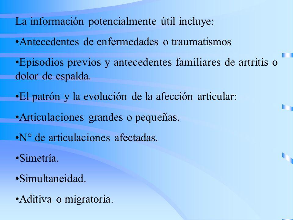 La información potencialmente útil incluye: