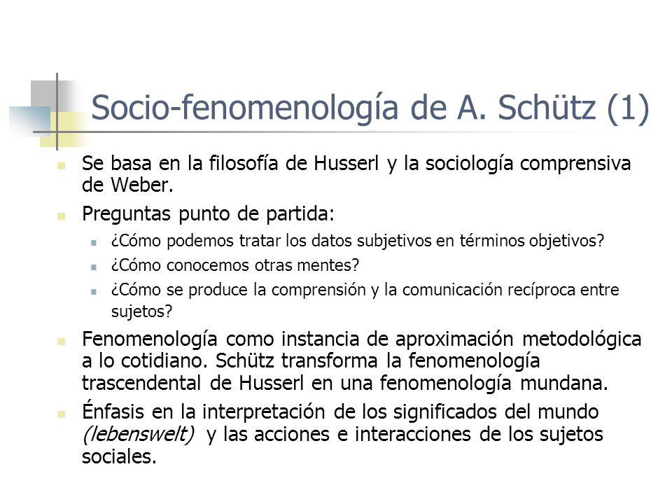 Socio-fenomenología de A. Schütz (1)
