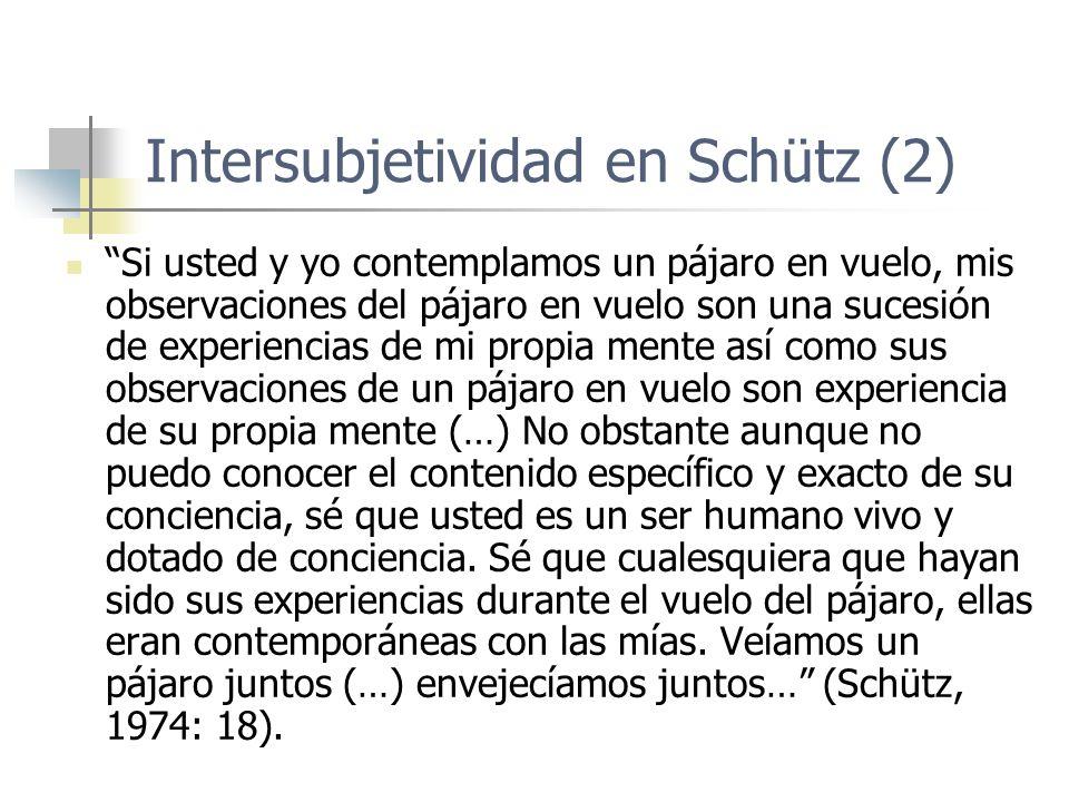 Intersubjetividad en Schütz (2)