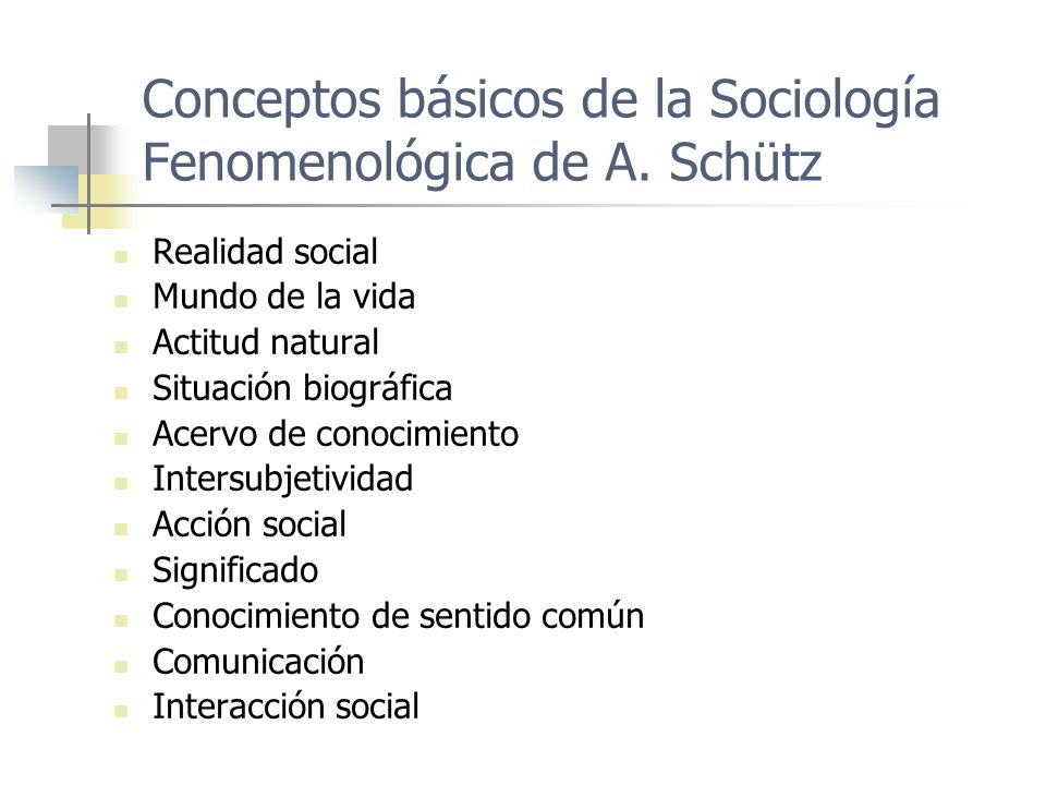 Conceptos básicos de la Sociología Fenomenológica de A. Schütz