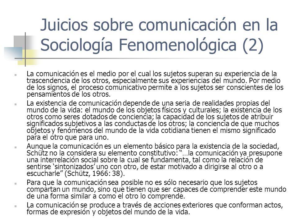 Juicios sobre comunicación en la Sociología Fenomenológica (2)