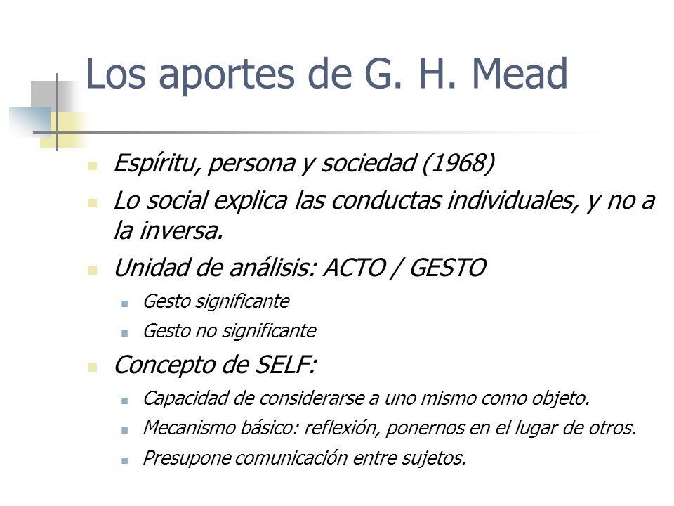 Los aportes de G. H. Mead Espíritu, persona y sociedad (1968)