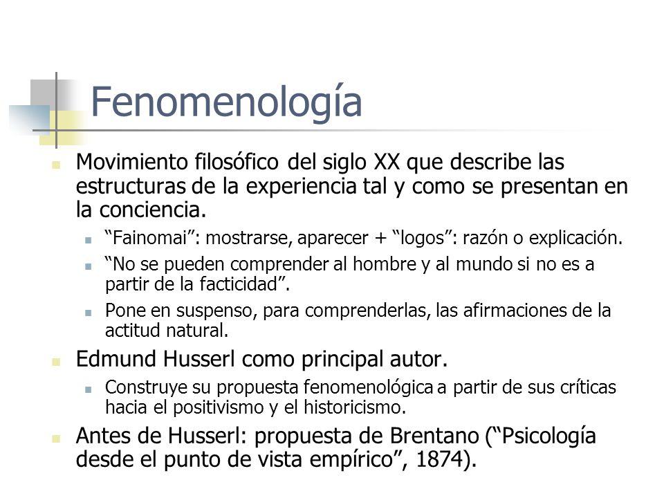 Fenomenología Movimiento filosófico del siglo XX que describe las estructuras de la experiencia tal y como se presentan en la conciencia.