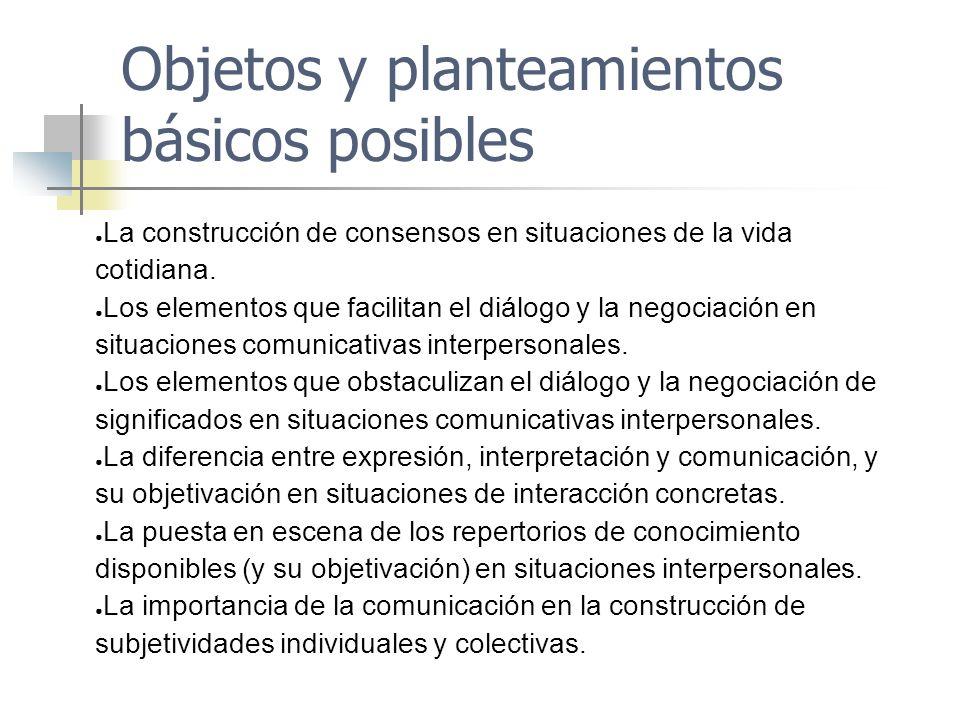 Objetos y planteamientos básicos posibles