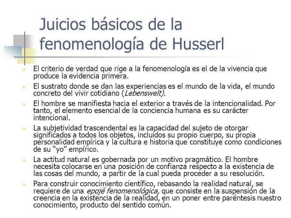 Juicios básicos de la fenomenología de Husserl