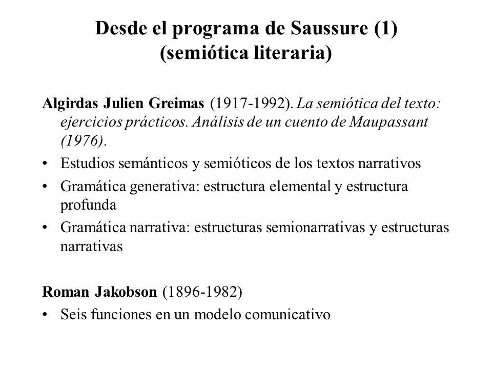 Desde el programa de Saussure (1) (semiótica literaria)