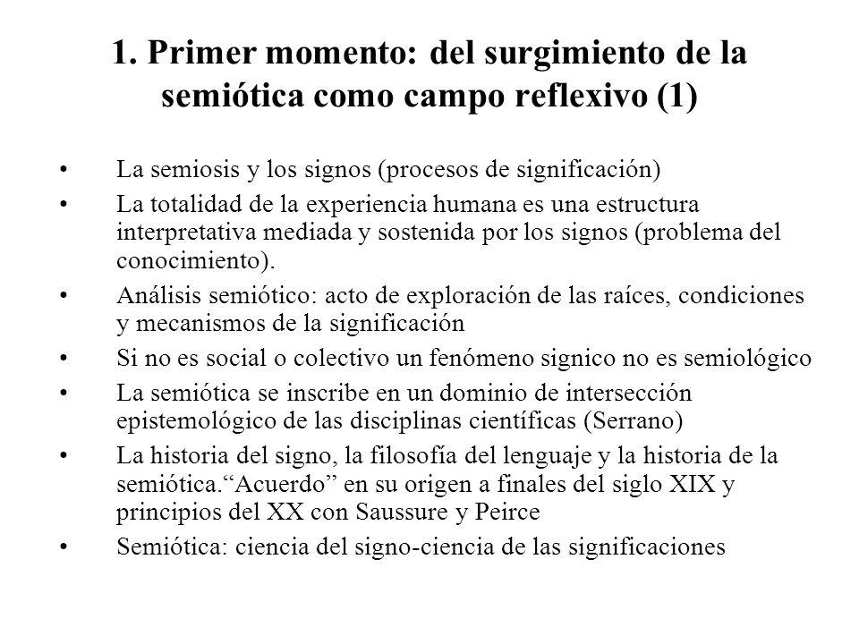 1. Primer momento: del surgimiento de la semiótica como campo reflexivo (1)