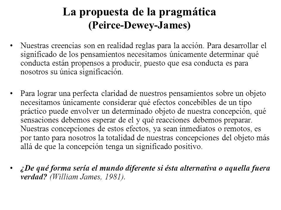 La propuesta de la pragmática (Peirce-Dewey-James)