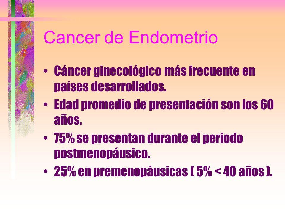 Cancer de EndometrioCáncer ginecológico más frecuente en países desarrollados. Edad promedio de presentación son los 60 años.