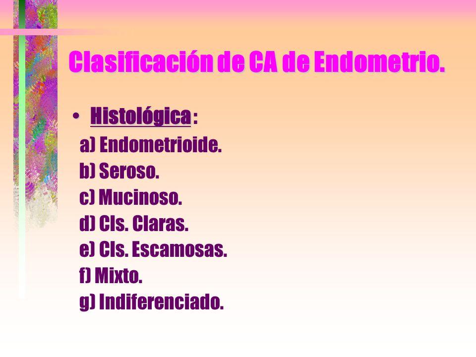 Clasificación de CA de Endometrio.