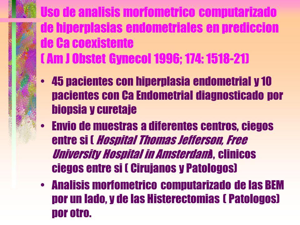 Uso de analisis morfometrico computarizado de hiperplasias endometriales en prediccion de Ca coexistente ( Am J Obstet Gynecol 1996; 174: 1518-21)