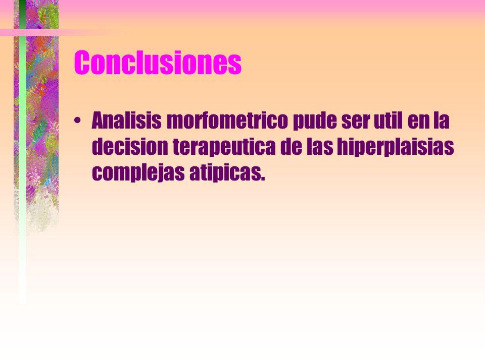 ConclusionesAnalisis morfometrico pude ser util en la decision terapeutica de las hiperplaisias complejas atipicas.