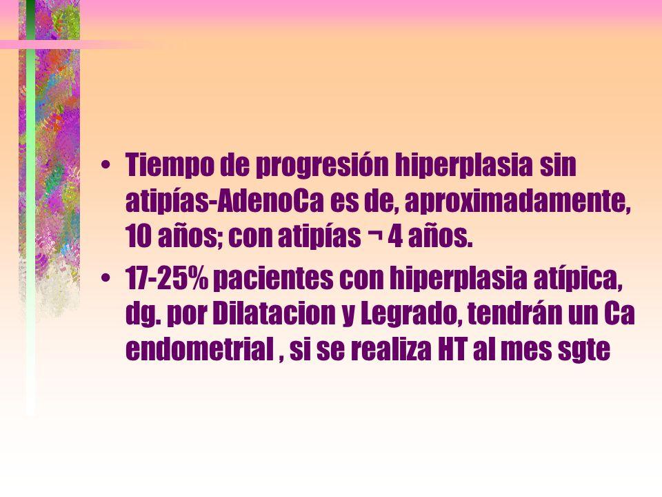 Tiempo de progresión hiperplasia sin atipías-AdenoCa es de, aproximadamente, 10 años; con atipías ¬ 4 años.