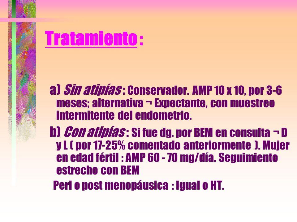 Tratamiento : a) Sin atipías : Conservador. AMP 10 x 10, por 3-6 meses; alternativa ¬ Expectante, con muestreo intermitente del endometrio.