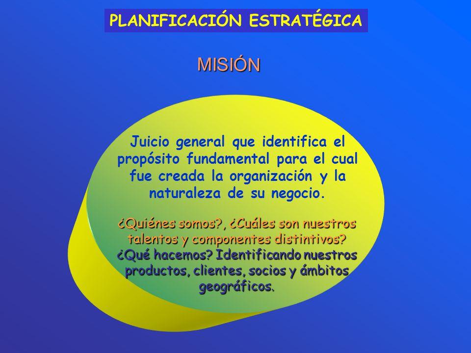 MISIÓN Juicio general que identifica el propósito fundamental para el cual fue creada la organización y la naturaleza de su negocio.