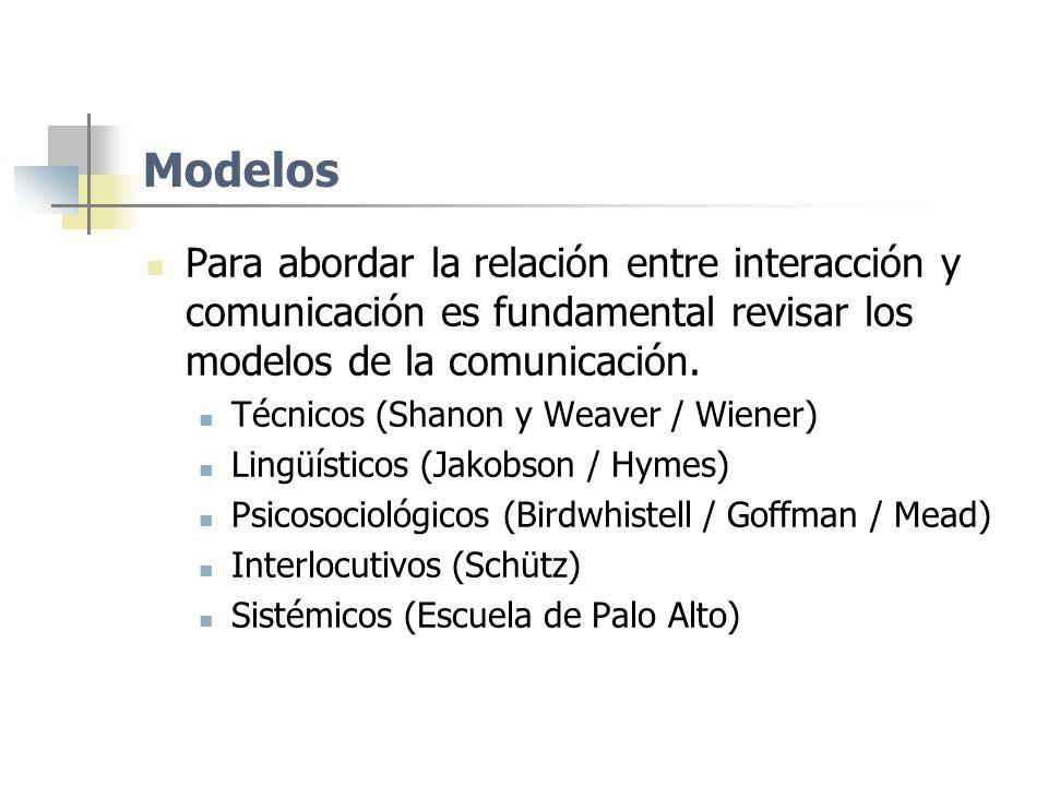 Modelos Para abordar la relación entre interacción y comunicación es fundamental revisar los modelos de la comunicación.