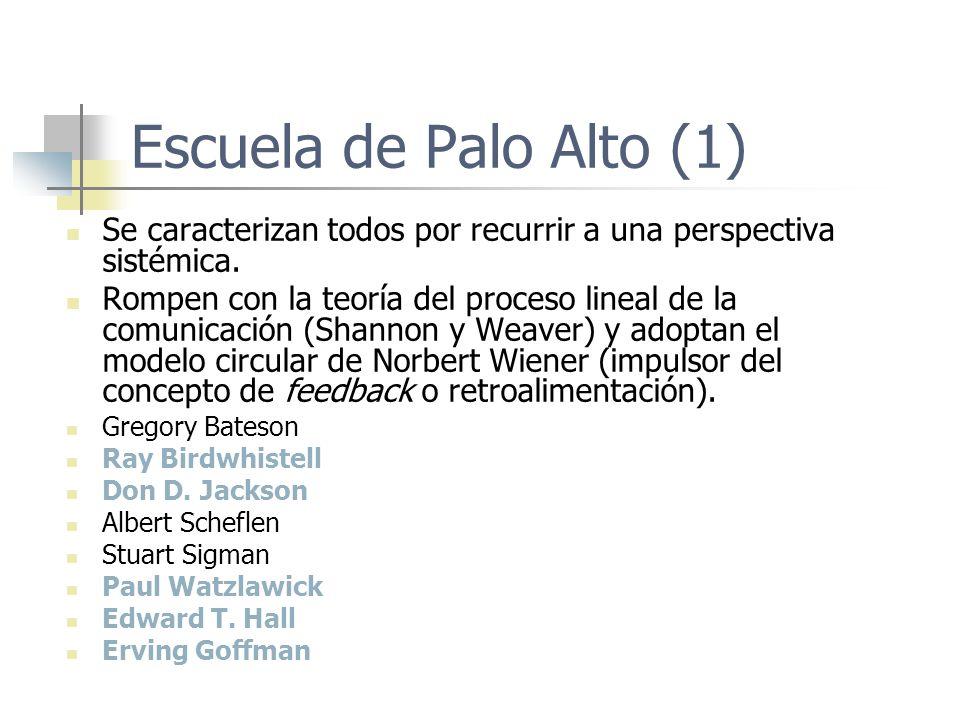 Escuela de Palo Alto (1) Se caracterizan todos por recurrir a una perspectiva sistémica.