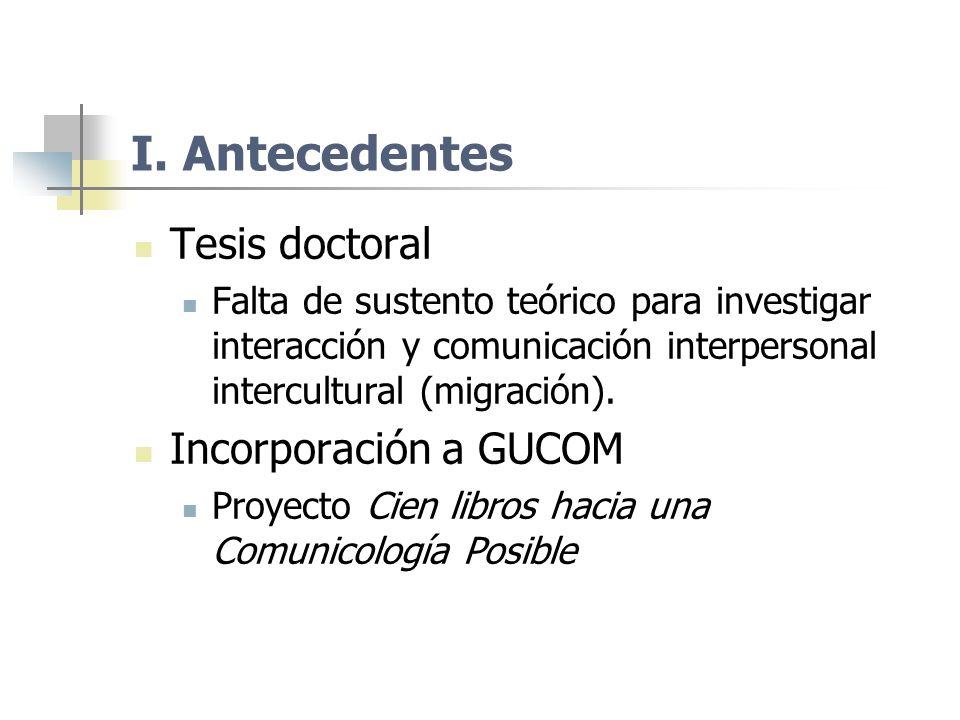 I. Antecedentes Tesis doctoral Incorporación a GUCOM